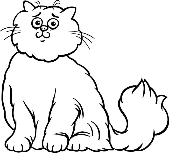 persian cat cartoon coloring page vinyl wall mural mammals
