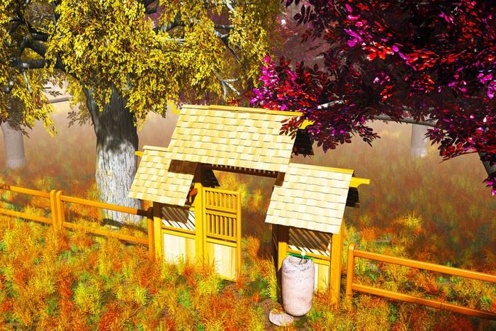 papier peint porte en bois traditionnel dans le jardin japonais de rendu 3d pixers nous. Black Bedroom Furniture Sets. Home Design Ideas