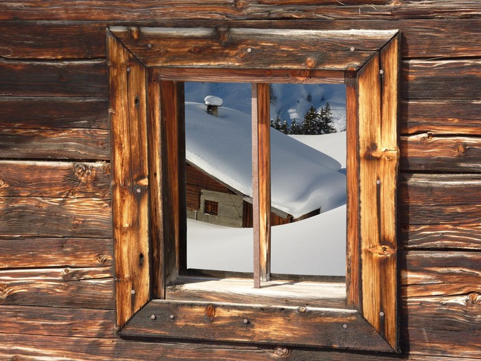 papier peint chalet de ski dans les alpes enneig es pixers nous vivons pour changer. Black Bedroom Furniture Sets. Home Design Ideas