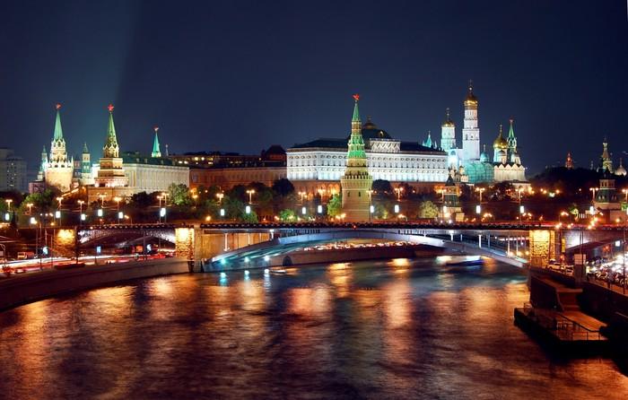Vinylová Tapeta Moskva Cremlin noční pohled panorama - Moskva