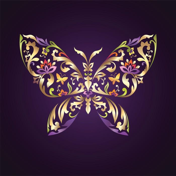 papier peint motifs papillon d coratif avec un m lange d 39 l ments floraux ornement pixers. Black Bedroom Furniture Sets. Home Design Ideas