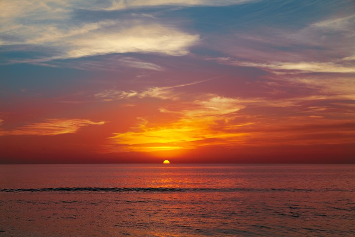 Vinylová Tapeta Západ slunce na pláži - Prázdniny