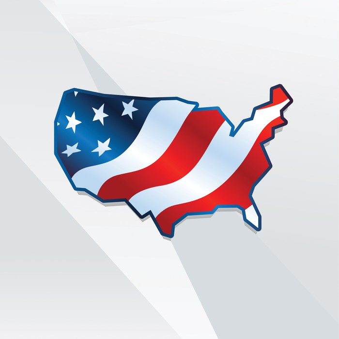 Abstract usa map with american flag Wall Mural • Pixers® • We live ...