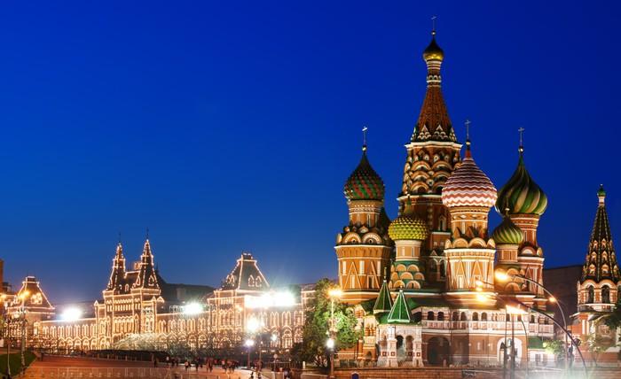 Vinylová Tapeta Noční pohled na Rudé náměstí a Vasila Blaženého katedrála v Moskvě - Moskva