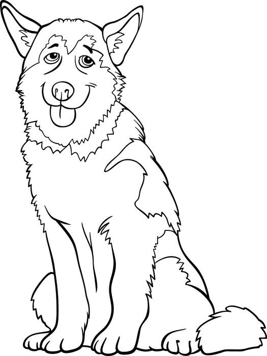 Vinilo Pixerstick Dibujos animados husky o malamute perro para ...