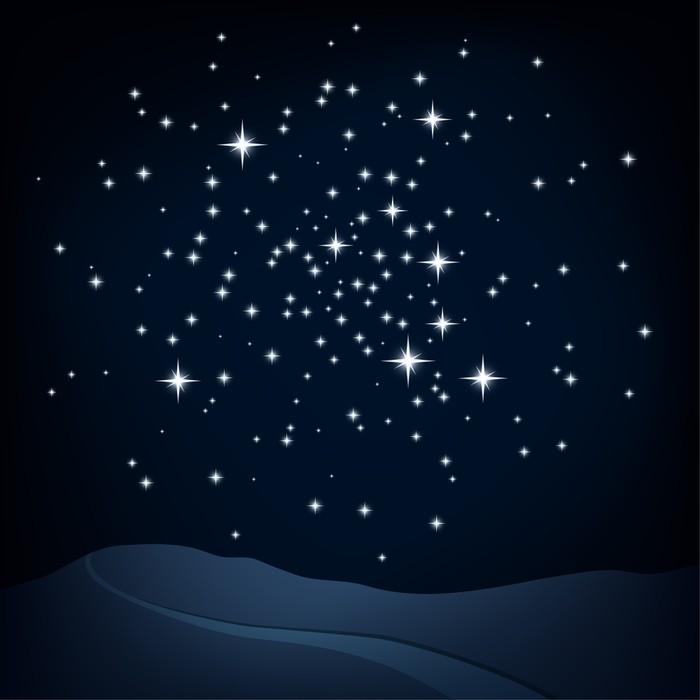 Vinylová Tapeta Noční scéna, hvězdokupa nad kopci a cesta, vektor - Meziplanetární prostor