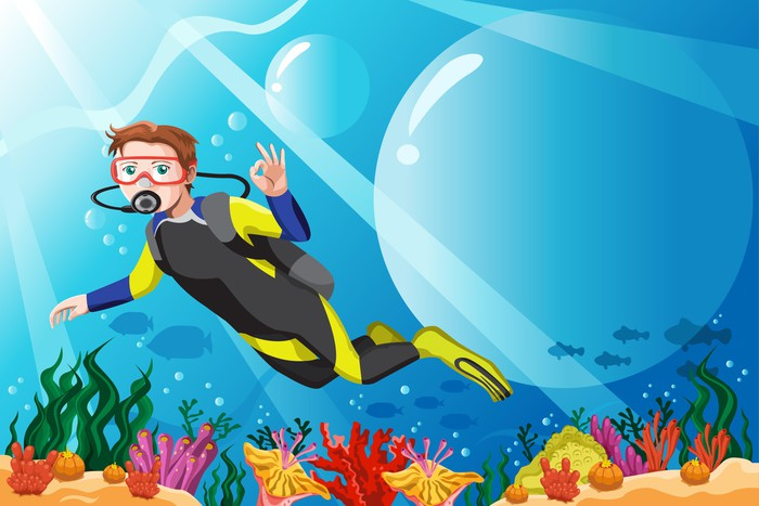 Plakát Potápěč v oceánu - Vodní sporty