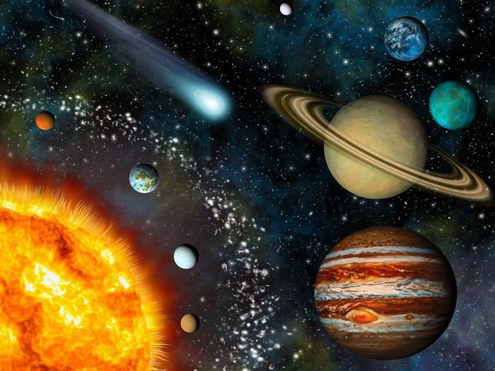 Realistic 3D Solar System Wallpaper Vinyl Wall Mural