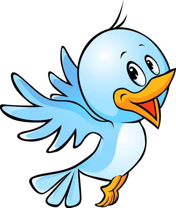 Fototapete Niedlichen blauen Vogel fliegen cartoon • Pixers® - Wir ...