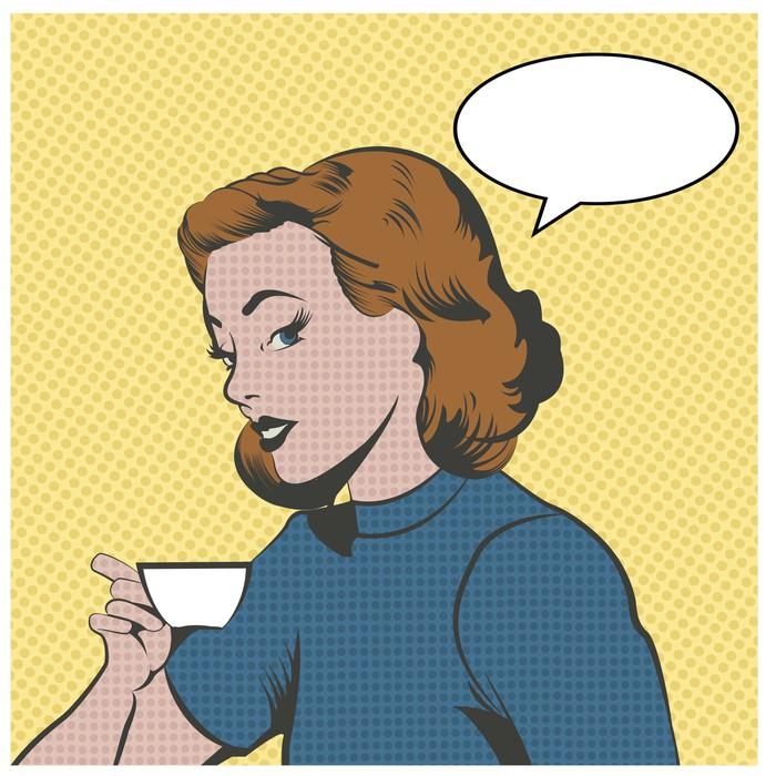 Papier Peint Vinyle Belle femme de boire du café ou de thé - Thèmes