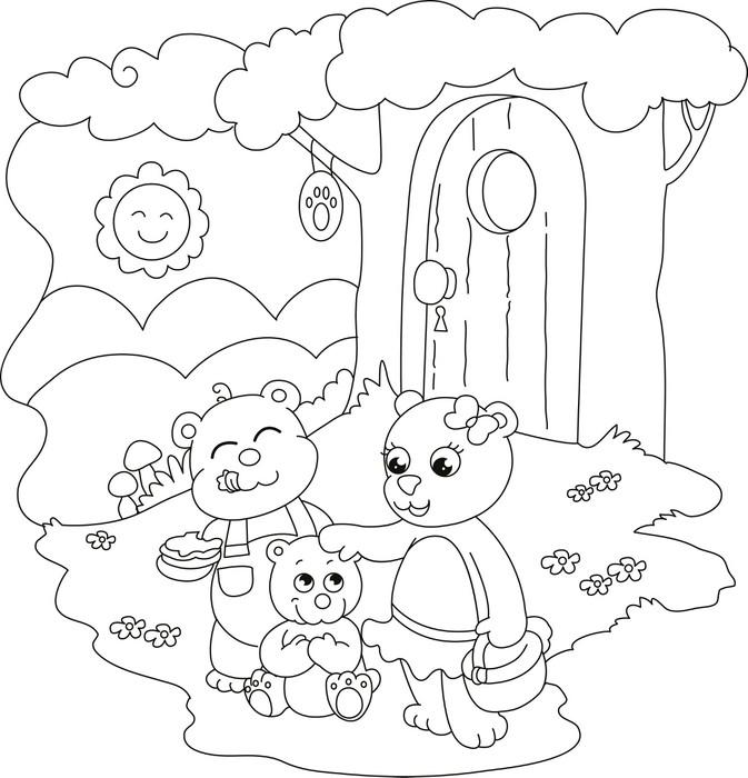 3 söpöä karhuja. värityskuva pienille lapsille. Pixerstick tarra ...