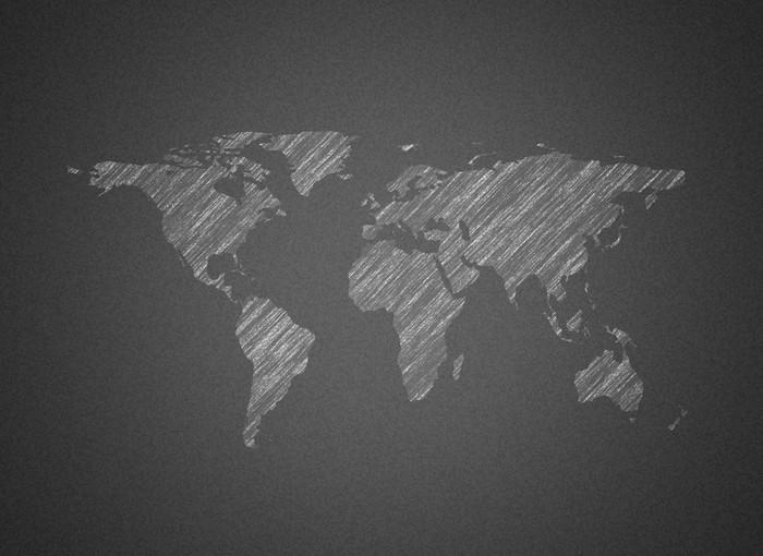Carta da parati mappa del mondo sulla lavagna pixers for Carta parati mondo