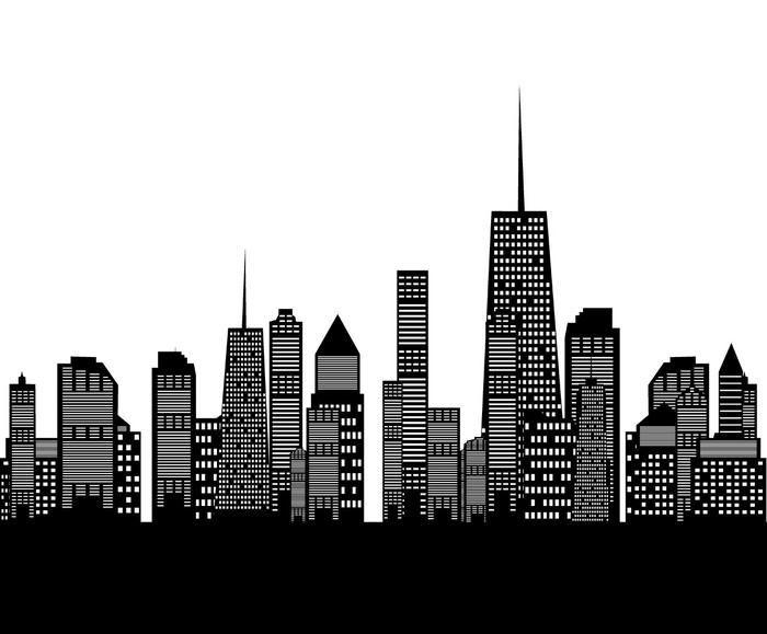Vector Illustration Of Cities Silhouette Wall Mural