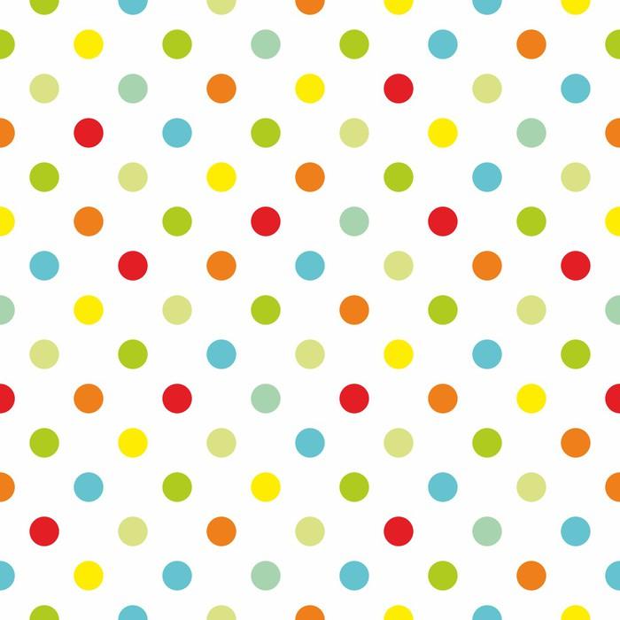 Papier Peint Vinyle Colorful pois fond blanc de modèle vectoriel transparente - Thèmes