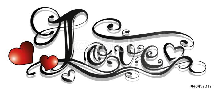 Sticker Pixerstick Amour, amour, logo, lettrage, tatouage, coeur - Destin