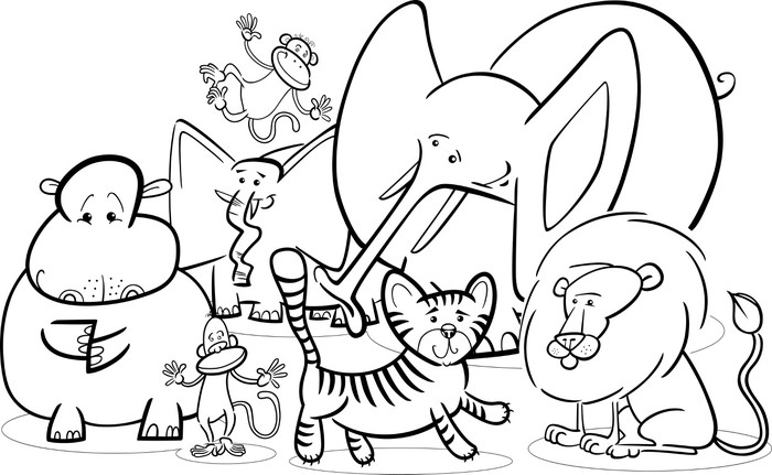 Vinilo Pixerstick Safari africano animales de dibujos animados para ...