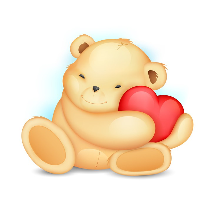 Teddy Bear with Heart Wall Decal • Pixers® • We live to change