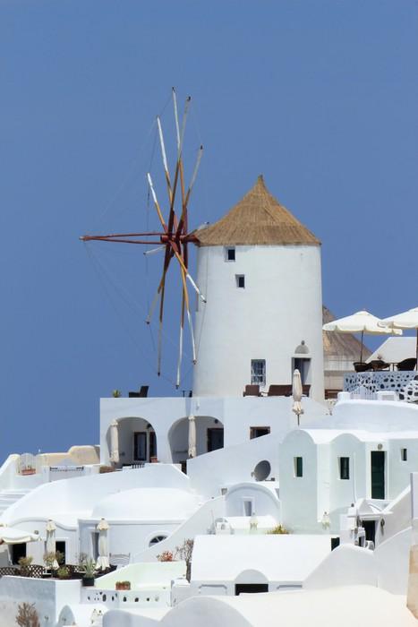 Vinylová Tapeta Starý větrný mlýn v Oia, Santorini, Řecko - Evropa