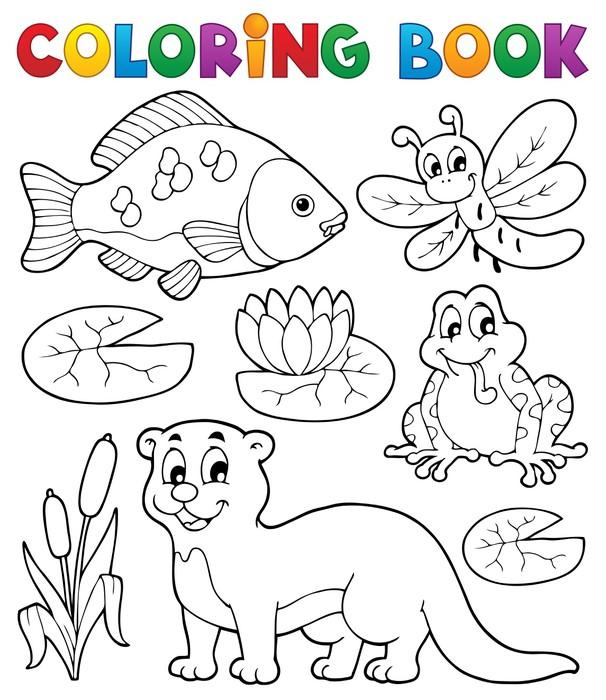 Vinilo Pixerstick Imagen 1 Libro para colorear fauna fluvial ...