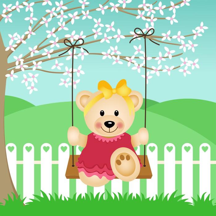 Vinylová Tapeta Little Bear na houpačce - Štěstí