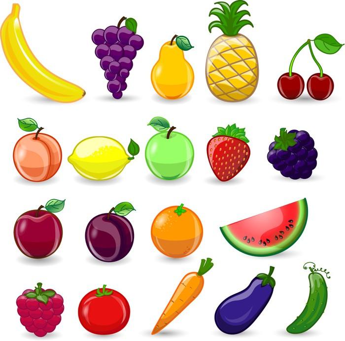 fotomural frutas y verduras de dibujos animados pixers vivimos