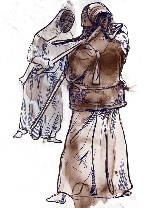 Vinylová Tapeta Budo, japonské bojové umění - akvarel imitace - Individuální sporty