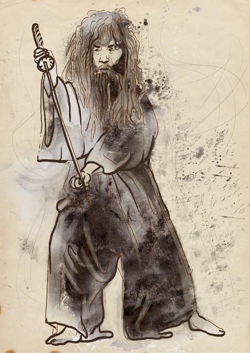 Vinylová Tapeta Budo, japonské bojové umění - akvarel imitace, starý papír - Individuální sporty