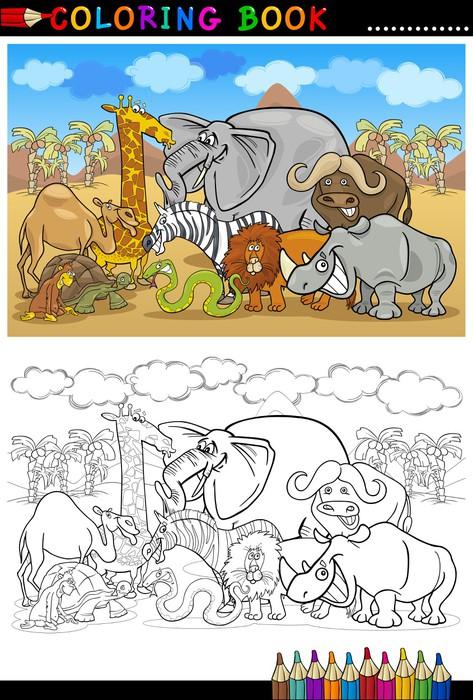 Fotomural Safari salvaje animales de la historieta para libro para ...