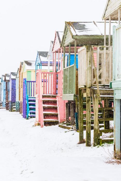 Vinylová Tapeta Beach Huts ve sněhu - Soukromé budovy