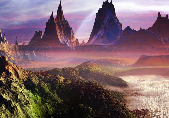 Vinylová Tapeta Misty Morning přes Paradise Valley - Meziplanetární prostor