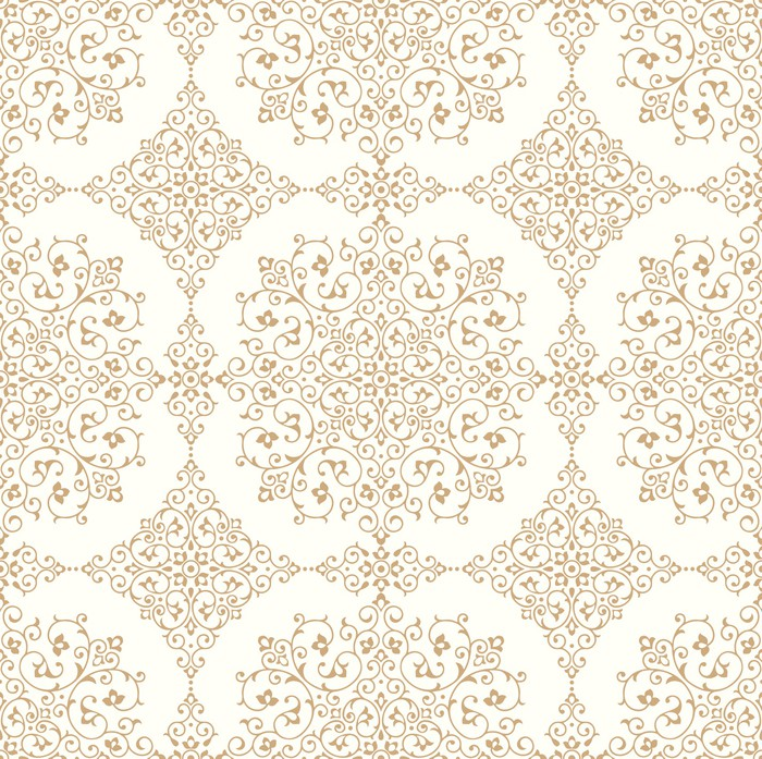 Traditional Seamless Golden Wallpaper Pixerstick Sticker