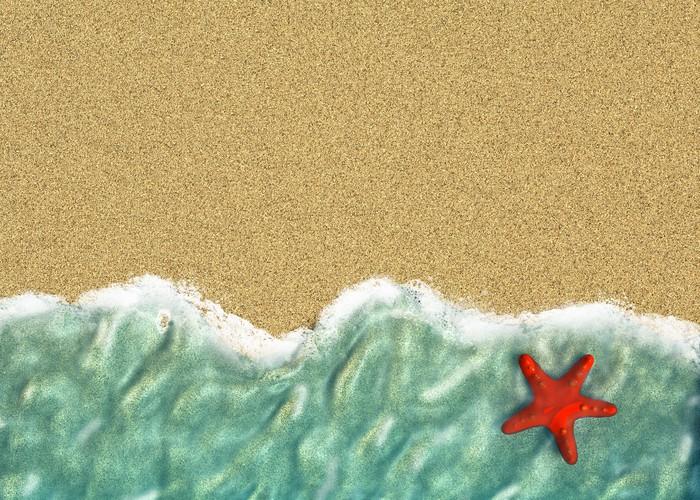 Adesivo linea di acqua di mare con stelle marine e sabbia u pixers
