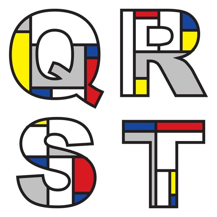Vinylová Tapeta Mondrian abecedy - část plné sady - Značky a symboly