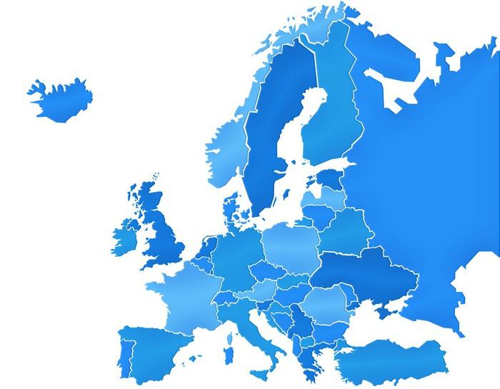 carte europe bleu
