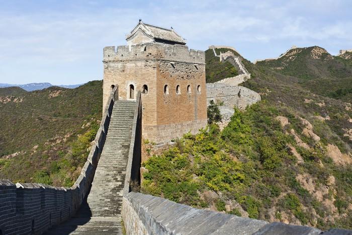 Vinylová Tapeta Strážná věž při západu slunce, Jinshanling Velká čínská zeď, Peking. - Asie