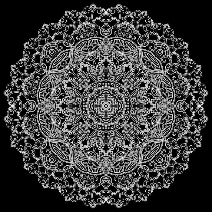 Vinilo Pixerstick Círculo de encaje blanco sobre fondo negro ...