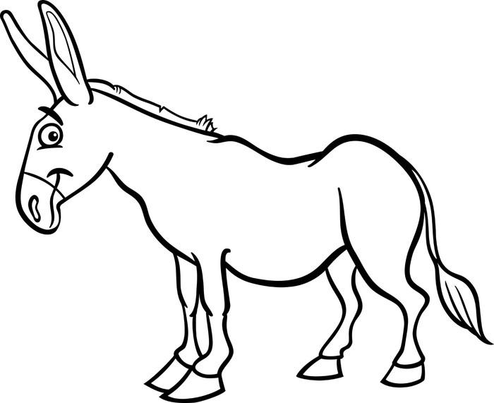 Fotomural Dibujos animados burro granja de libro para colorear ...