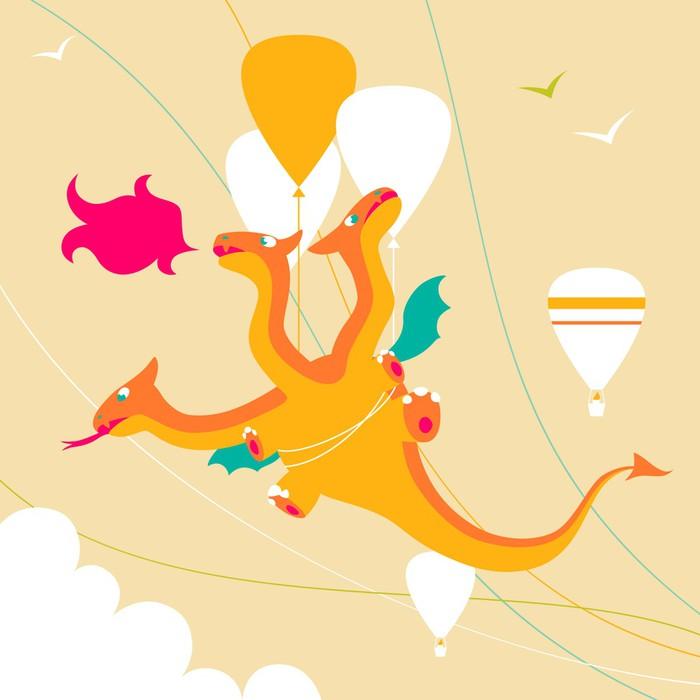 Vinil Duvar Kağıdı Karikatür komik üç başlı ejderha - Hayali hayvanlar