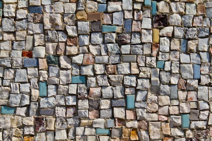 Adesivo mosaico texture di piccolo muro di pietra close up