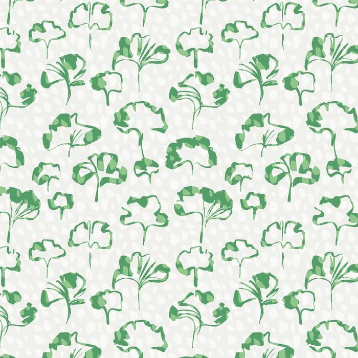 Vinylová Tapeta Zelené listí bezproblémové vzor vektorové ilustrace - Struktury
