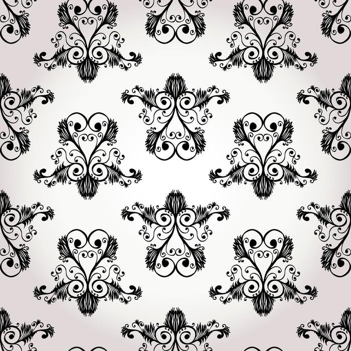 Papier peint seamless ornement floral baroque noir et for Papier peint baroque noir et blanc