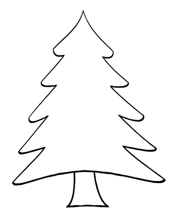 Outline Cartoon Christmas Tree Wall Mural • Pixers® • We ...