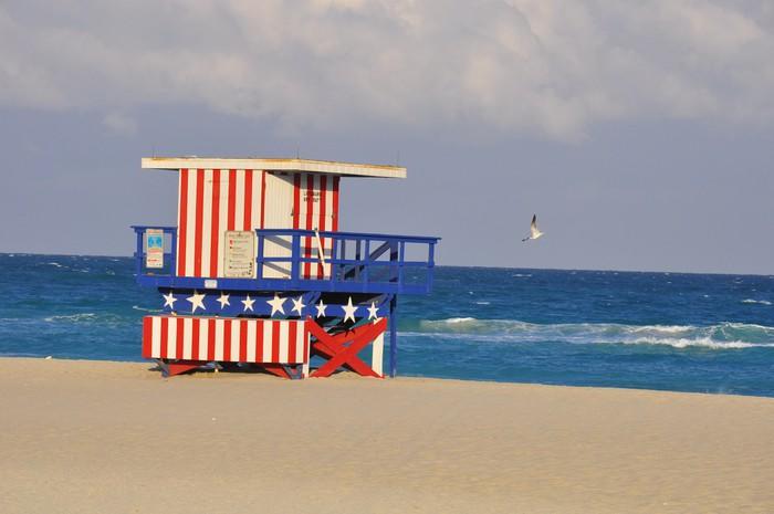 Vinylová Tapeta Miami Beach Plavčík - Amerika