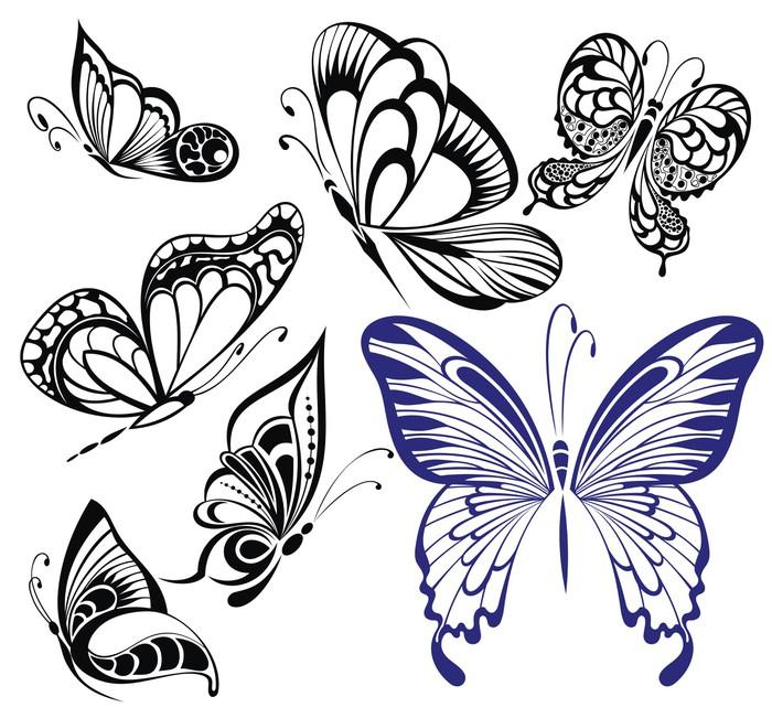 Vinylová Tapeta Sbírka černá a bílá butterflies.Tattoo designu - Imaginární zvířata