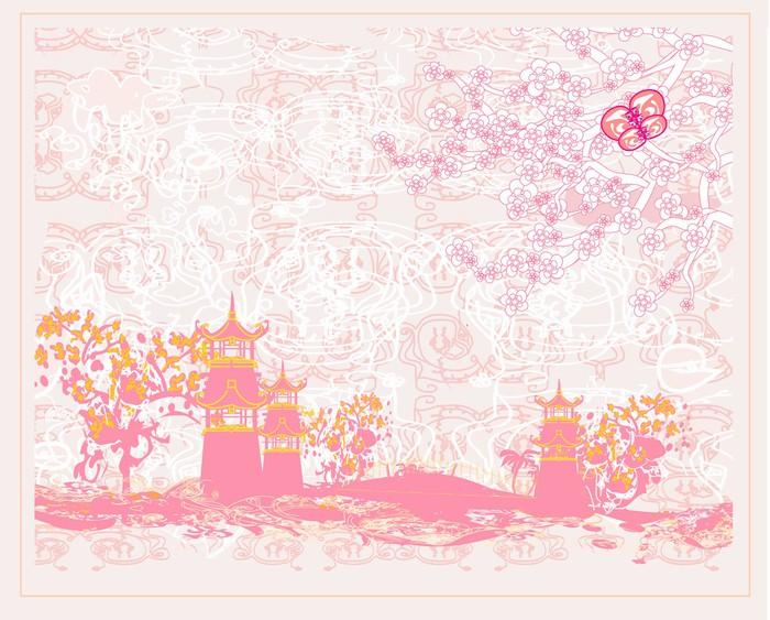 Vinylová Tapeta Čínské krajiny - abstraktní starobylé budovy - Asie