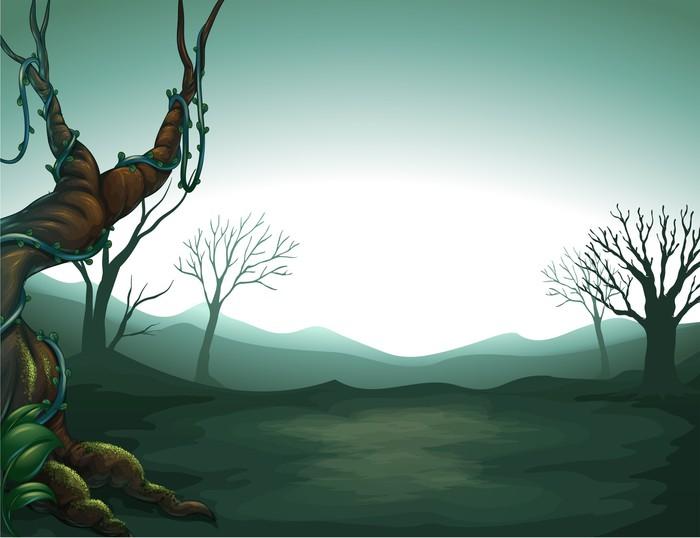 Vinylová Tapeta Tmavá výhled na les - Pozadí