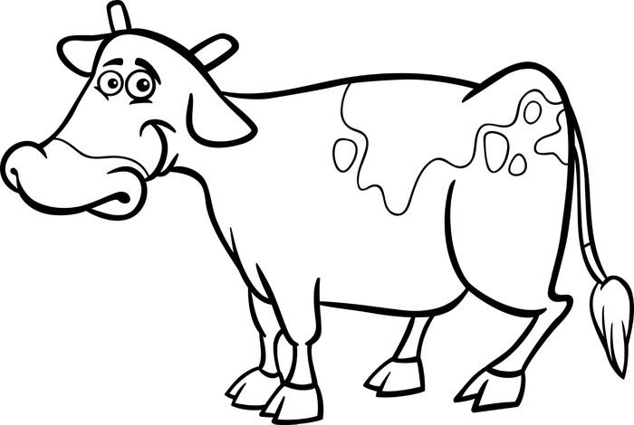 farm cow cartoon for coloring book Wall Mural • Pixers® • We live to ...