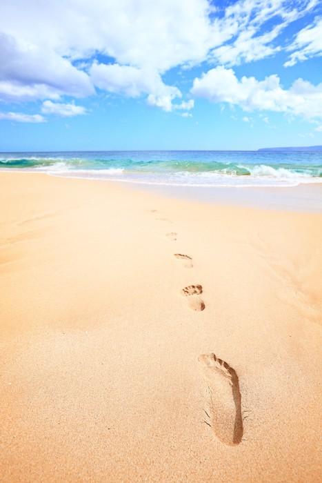 Vinylová fototapeta Beach jezdit prázdniny koncepce - stopách v písku - Vinylová fototapeta