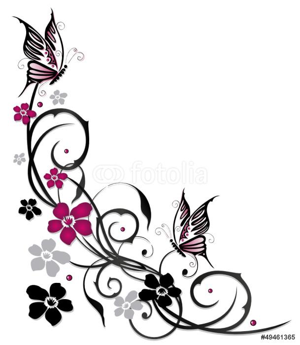 Sticker Pixerstick Ranke, flore, fleurs, papillons, noir, rose - Sticker mural
