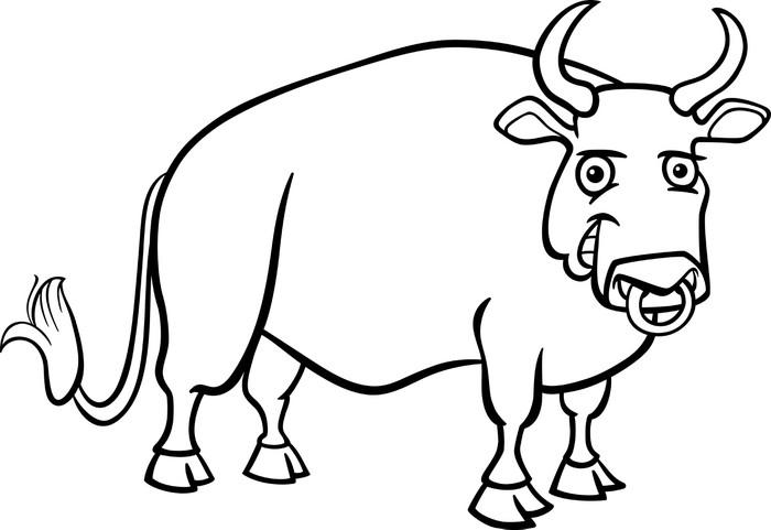 Fotomural Dibujos animados toro granja de libro para colorear ...